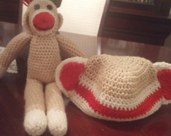 Toddler Sock Monkey Hat and Monkey