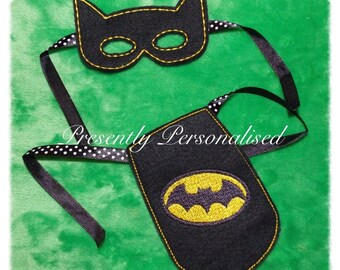 Elf sized Fancy Dress!  Batman! Embroidered Mask and Cape, to fit all naughty Elves and Santa Spy elves this Christmas 2016