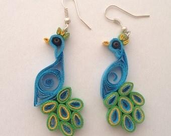 Peacock earrings quilling-peacock earrings
