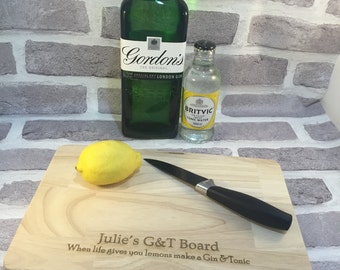 Gin and tonic lover gift wood engraved lemons board chopping board serving platter drinks