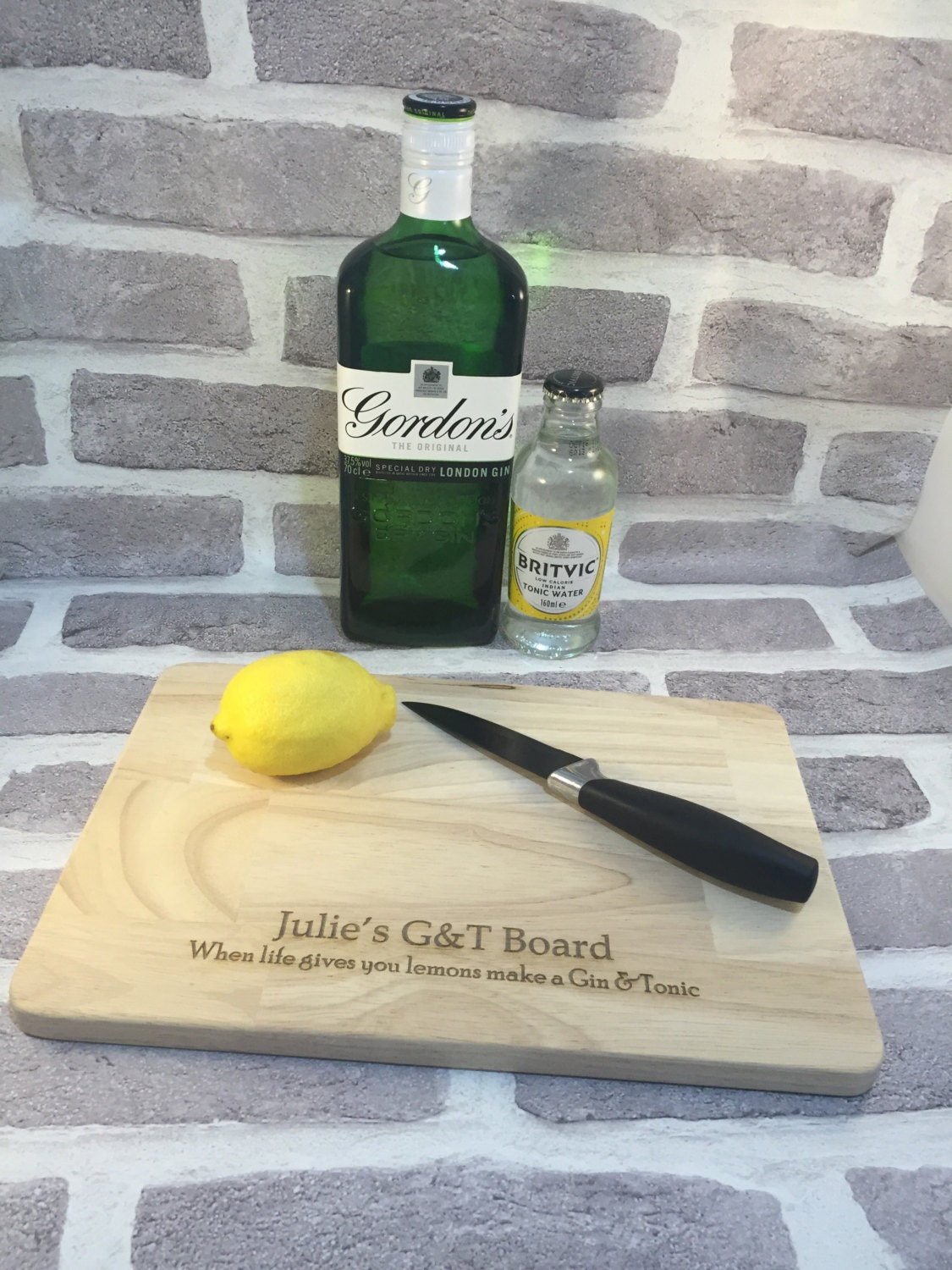 Gin And Tonic Lover Gift Wood Engraved Lemons Board Chopping