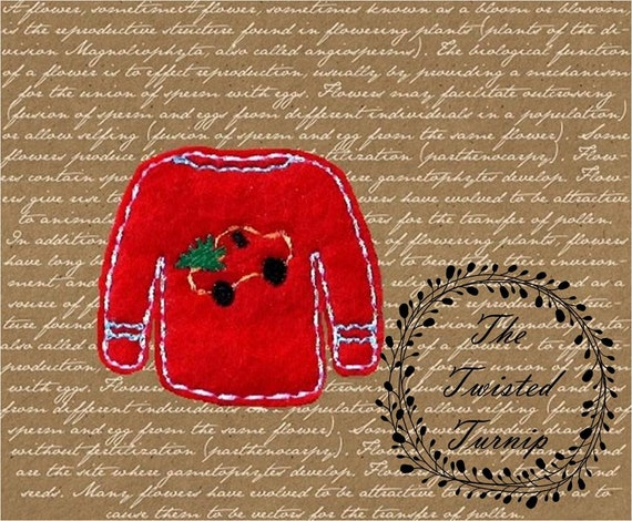 In The Hoop Cute Ugly Christmas Sweater Embroidery Design Designs File Feltie Felt Instant Download 4x4 Hoop