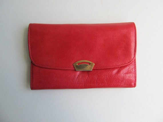 Italian Red Leather wallet, ladies mens unisex purse, travel document holder organiser
