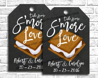 Smore Favor Tags, PERSONALIZED Smores Wedding Favors Tags, Smore Love Tags, PRINTABLE Wedding Favor Tags, Fall Winter Wedding Favors Tags