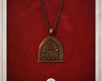 TOLKIEN necklace bronze, gate of Castle, fantasy COP014
