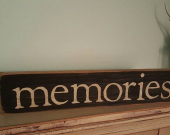 Memories stenciled sign with rusty star