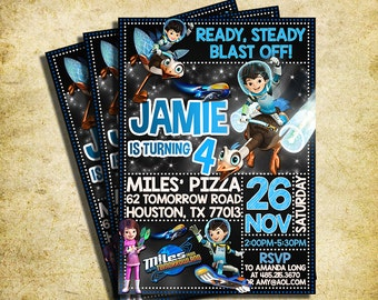 Miles From Tomorrowland Invitation - Miles From Tomorrowland Chalkboard Birthday Invite - Printable And Digital File
