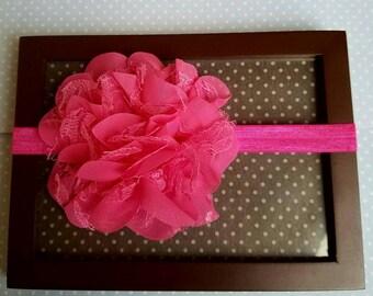 Hot pink Newborn flower headband