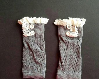 Infant leg warmers. Gray and lace