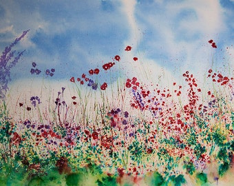 Original Brusho painting of poppies with added bead decoration, Size is 460mm x 300mm, supplied with mount, (A2) ready to frame, great gift