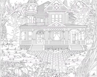 Adult Coloring Page, Coloring pages, Digital Download, Haunted Victorian House, Coloring by Kristi