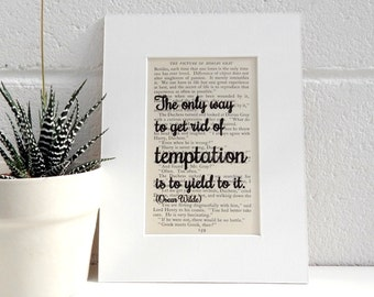 Antiquarian Book Print - Oscar Wilde Witty Quote - Literary Print - Book Lover Gift - Vintage Book Print