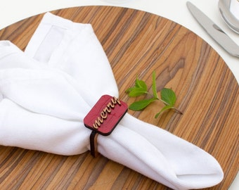 Merry Christmas - Napkin Ring - Wooden