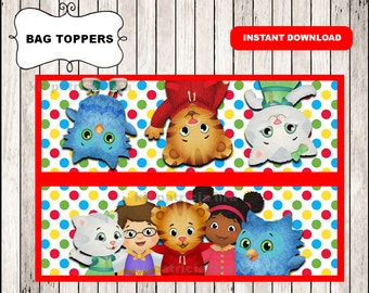 Daniel tigers bags toppers instant download , Daniel tiger treat bags toppers, Printable Daniel tiger party bags toppers