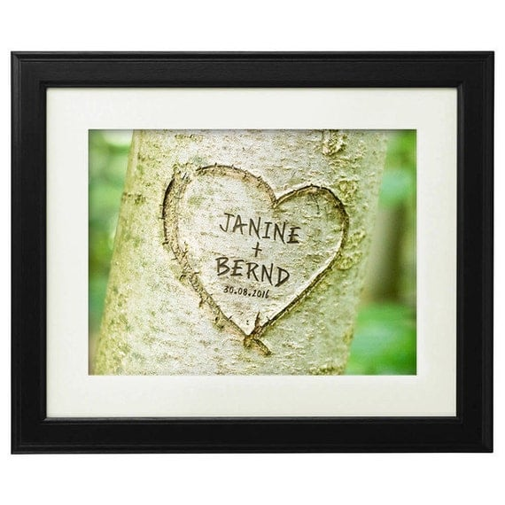 Heart in Tree - Customised Print for Couples - Personalised With Names and Date