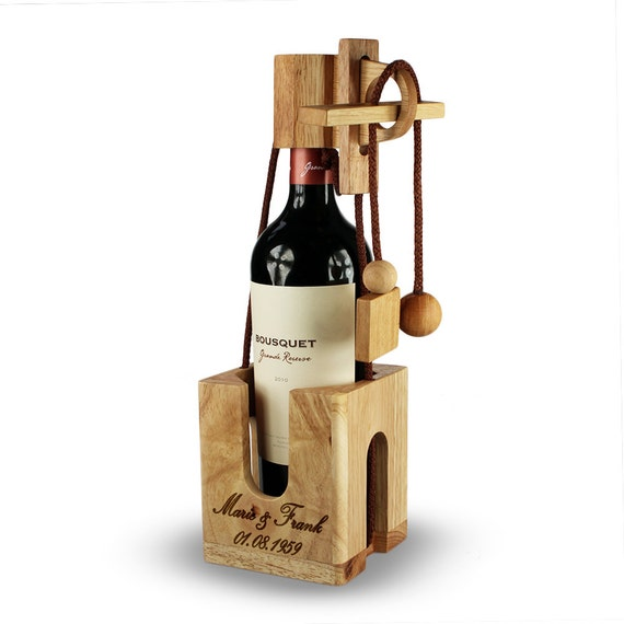 Wine Puzzle – Personalised with Name and Date - Gift Wrapping Idea for Wine Bottles