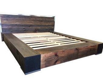 Industrial Bed, Reclaimed Wood Bed, Platform Bed, Storage Bed, Industrial Bedroom Decor, Bedroom Furniture, Rustic Bed, King Platform Bed