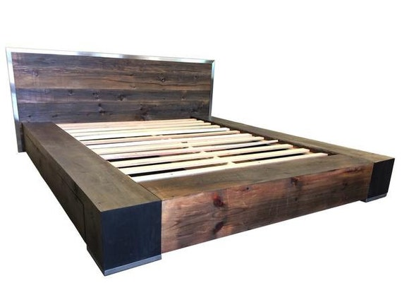 Industrial Bed Reclaimed Wood Bed Platform Bed Storage Bed