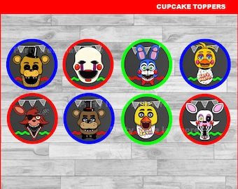 Five nights at freddy's cupcakes toppers Instant download, Five nights at freddys Chalkboard toppers, FNaF toppers