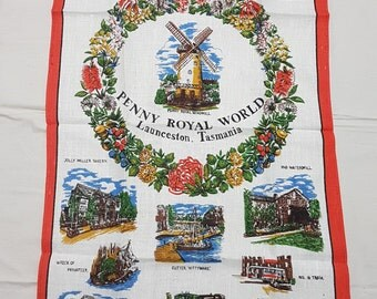 Vintage Tea Towel Penny Royal World Launceston Tasmania Pure Linen