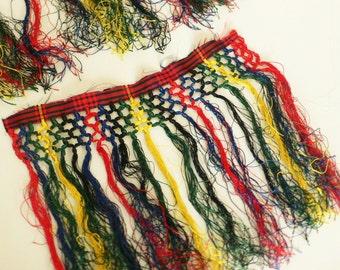 Antique silk fringing remnants tartan colors SALE