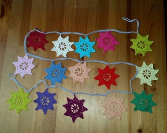 Star Bunting multicoloured crocheted cotton