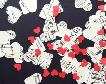 Confetti of Hearts from vintage sheet music