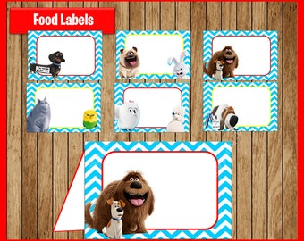 The Secret Life Of Pets Food Tent Cards instant download, Printable Secret Life Of Pets party Food labels, Life Of Pets Food table labels