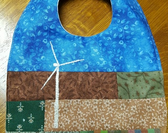 Wind Turbine Baby Bib Gift:  Each one different yet same look for wind energy baby in cotton front and flannel backing