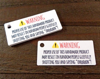 Random Sniffing Warning Labels Humorous Gift Tags for Soap Lotion Shampoo and Scented Products Set of 40 - Choice of Sticker Label or Tags