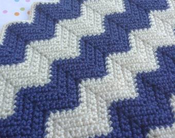 Children's Striped Chevron Stitched Crochet Blanket