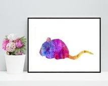 One Dollar Sale! Mouse Watercolor Art Print - Printable Rat Artwork - Wall Art Prints, Cute Mouse Art, Mouse Watercolor Print, Digital Print