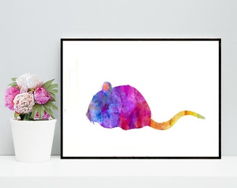 One Dollar Sale! Mouse Watercolor Art Print - Printable Rat Artwork - Wall Art Prints, Cute Mouse Art, Mouse Watercolor Print, Digital Print