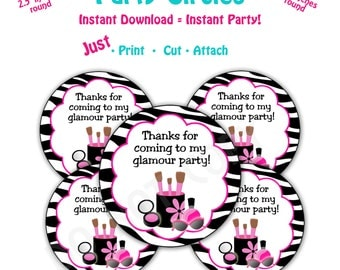 Glamour Birthday Party  Favor Tags -- Instant Download -   Printable Glamour Party Favor Tags