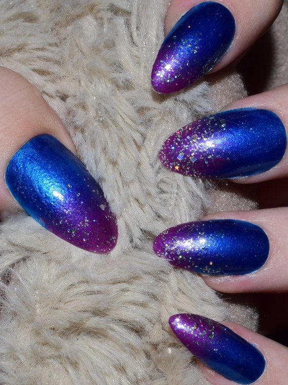 Blue Purple Tip Fake Nails, Long Almond False Nails, Hand