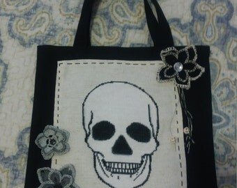 Cross stitch skull tote