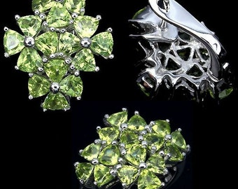 Set ring + earrings in Sterling Silver 925/1000 genuine peridot