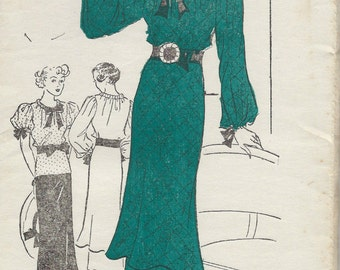 1930s Vintage Sewing Pattern B32 DRESS TUNIC BLOUSE (1530R)