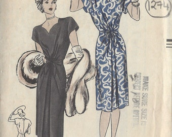 1945 WW2 Vintage VOGUE Sewing Pattern B32 DRESS (1274)  Vogue 5401