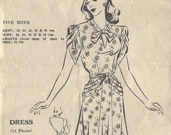"1940s Vintage Sewing Pattern DRESS B32"" (182) Bestway  C.21,360"