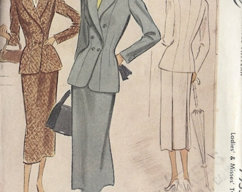1950 Vintage Sewing Pattern B42 SUIT - SKIRT & JACKET (R782)  McCall's 7955