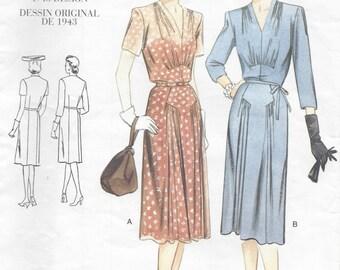 "1943 Vintage VOGUE Sewing Pattern DRESS B34""-36""-38"" (R392) Vogue 2322"