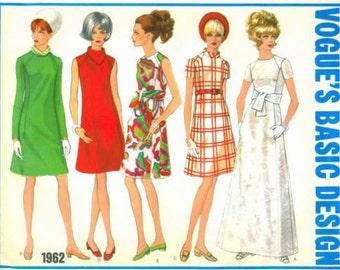 "1968 Vintage VOGUE Sewing Pattern B36"" DRESS (1651)  Vogue 1962"