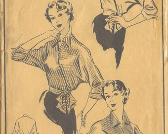 1950s Vintage Sewing Pattern B40 CROSS-OVER BLOUSE (R870) Style 408