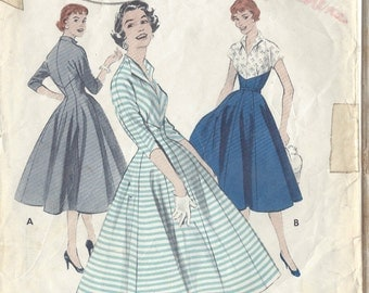 "1950s Vintage Sewing Pattern DRESS B34"" (R324) Butterick 7202"