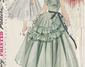 "1951 Vintage VOGUE Sewing Pattern B29"" Dress, Cape & Apron  (R248) Simplicity 8446"