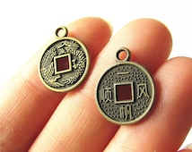 Chinese Vintage Coin Charm Pendant Antique Brass Drop Handmade Jewelry Finding 15mm 12 pcs