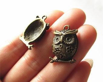 Owl Charm Pendant Antique Brass Drop Handmade Jewelry Finding 16x24mm 3 pcs