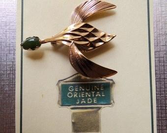 Vintage Jade bird brooch