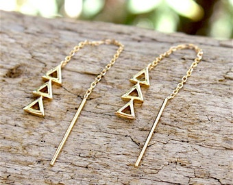 gold plated chain and earrings triangles 18 ct 3 microns